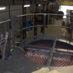 Het cirkelvormige bordes in de biomassacentrale van Volvo in Gent