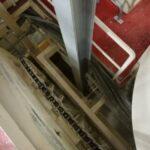 Detailfoto van een metalen steunbalk